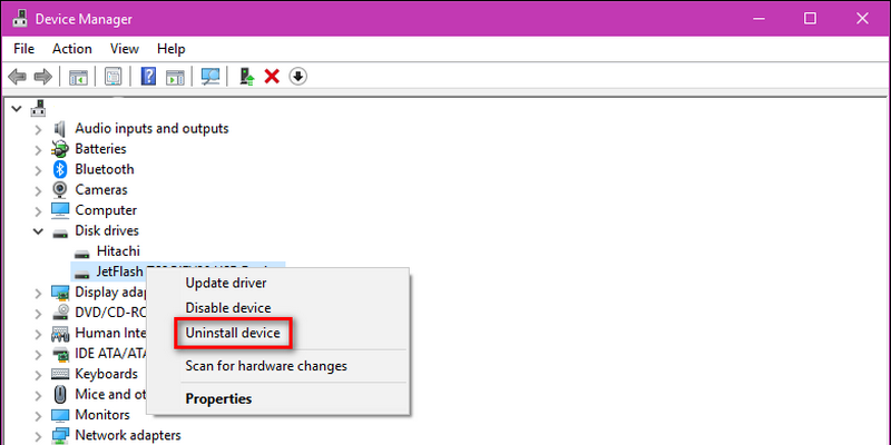 Now, select the USB flash drive/hard drive from the list and then right-click on it. Soon, you will get a few options and from that, select 'Uninstall device'.