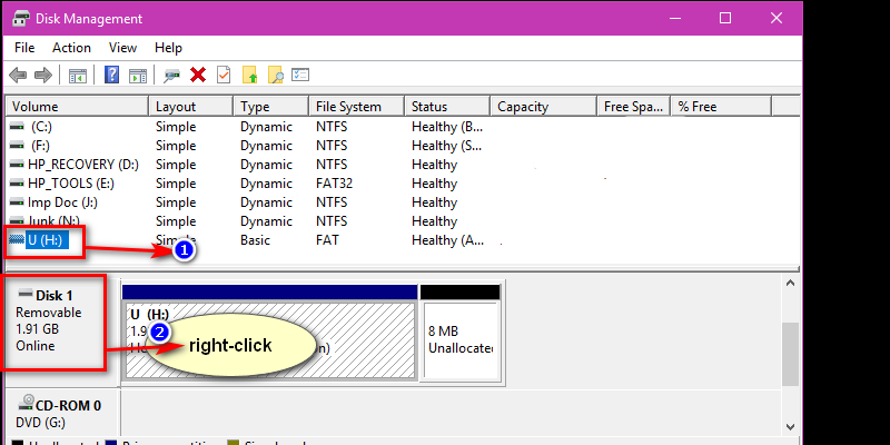 Now, right-click on the selected disk as shown in the image below and then select 'initialize' from the drop-down menu.