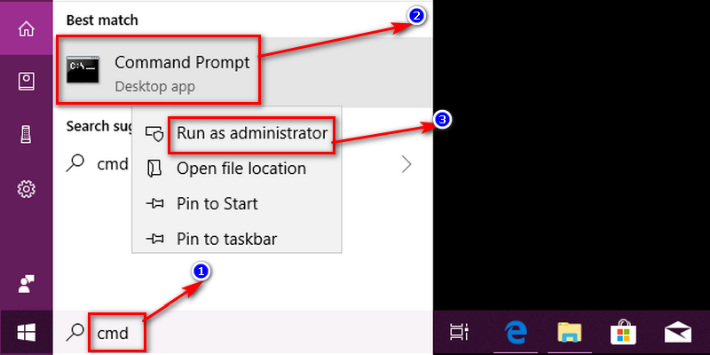 You will have to perform this task as an admin on the command prompt. So, click on the 'Start' menu and type 'cmd'.