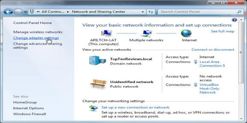 Open Control Panel from the Start menu and go to Network & Internet ->Network & Sharing Center ->Change Adapter Settings