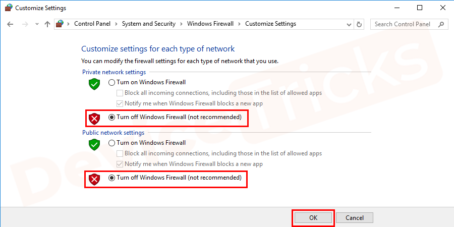 Check Firewall and Internet Security Settings