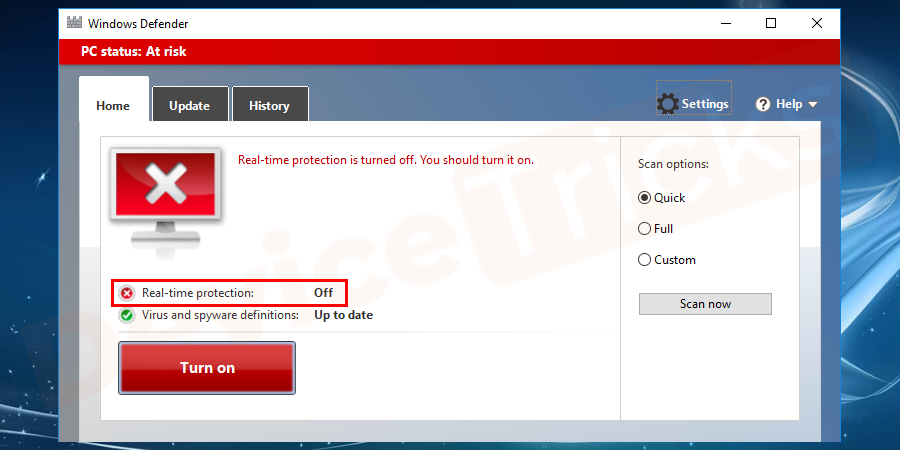 Go to settings and select Disable option from the list.