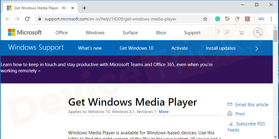 Search for the latest version of Windows Media player from your web browser and then select the trusted link from the results for download because the un-trusted site will invade malware or virus into your system along with software.