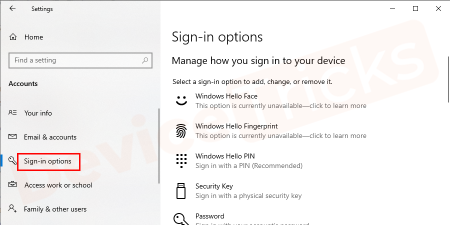 Select sign-in options.