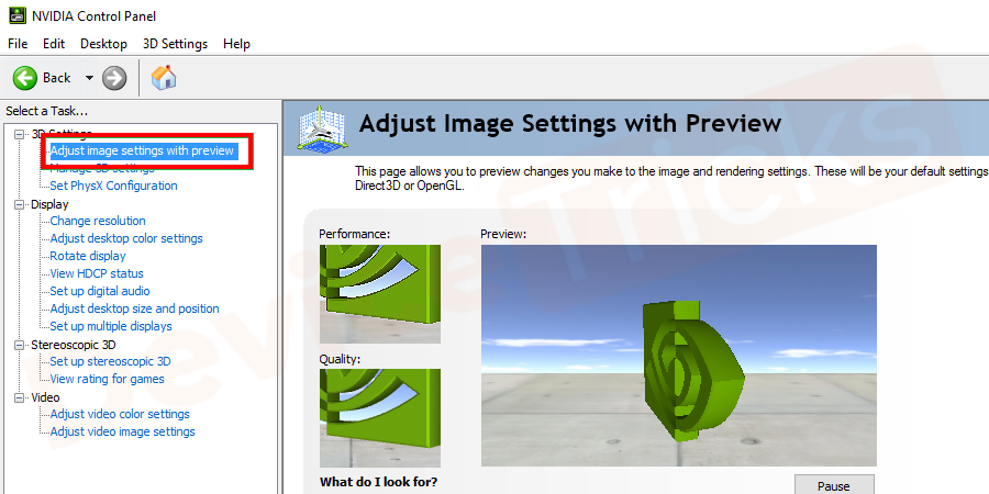 Then go to Adjust image settings with preview.