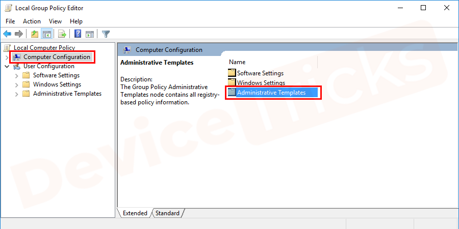A new window opens and goes to the computer configuration tab. Under it, select administrative templates.