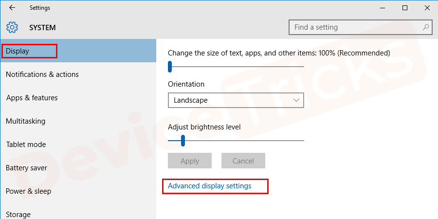 Select the advanced display settings link at the bottom of the box.
