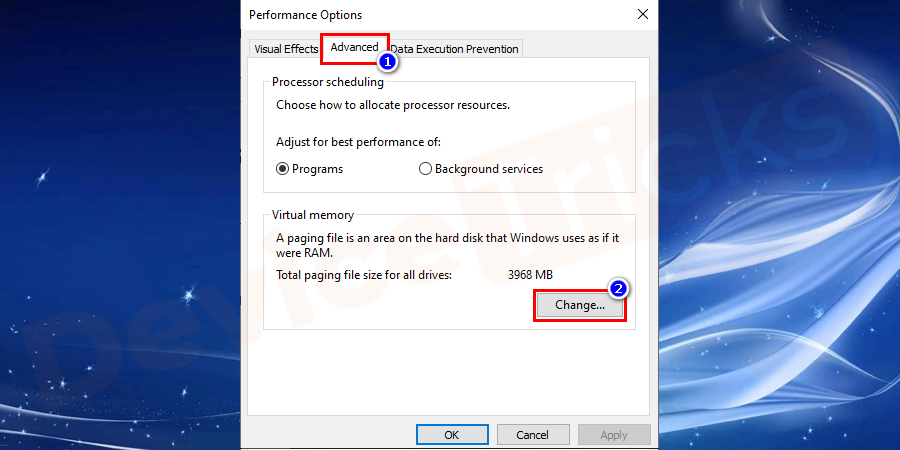 Again click on the Advanced tab and click on Change under the heading of Virtual Memory.