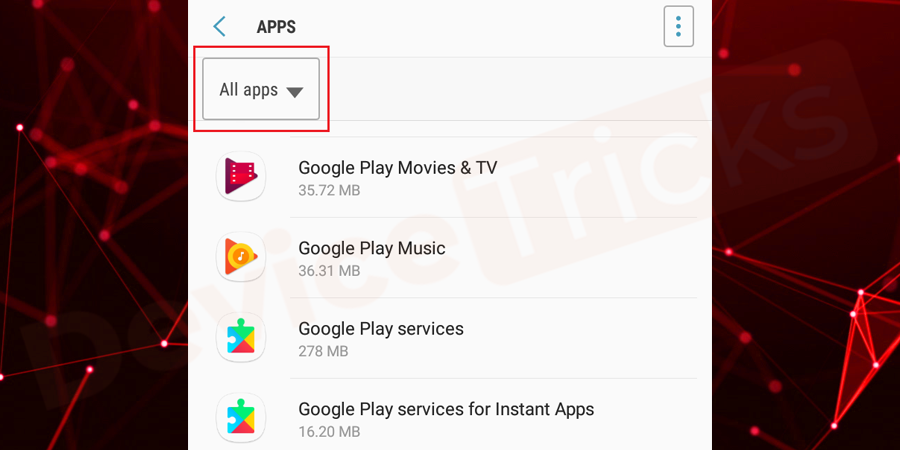 At the top of the page, you will find down arrow symbol, tap on it and select 'All Apps'.