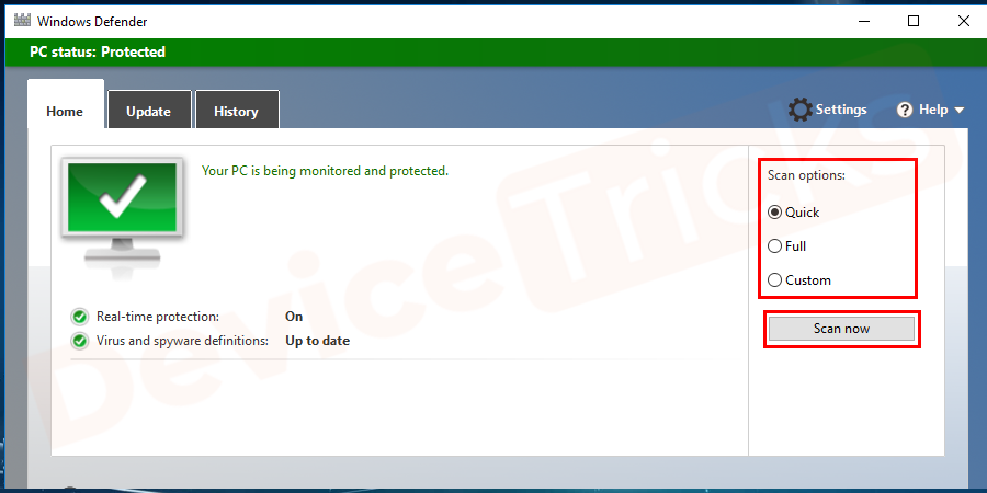 Launch the antivirus software and go to the scan option