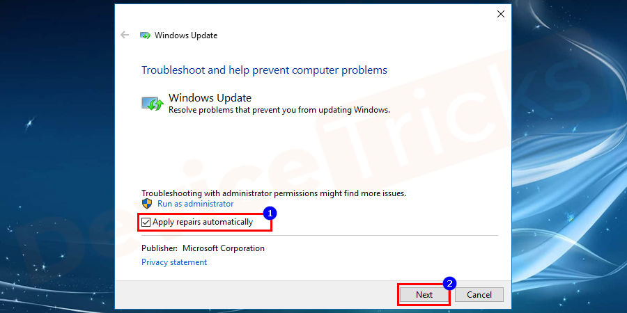 After clicking Advanced check the Apply remains automatically and press the next button to follow some instruction to complete the troubleshooting.