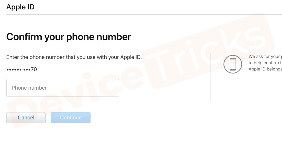 Enter the Apple id and the contact number to receive OTP.