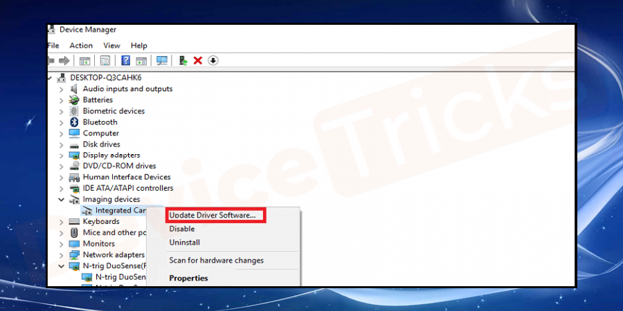 Right-click on the biometric error occurring device and from the list, select update driver option.