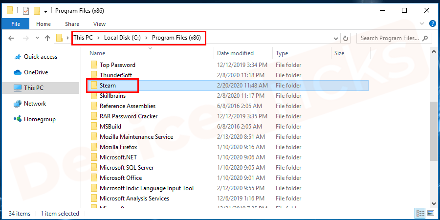 In the C drive, you will get several options, move to 'Program Files (x86)'. And then locate the 'Steam' folder.