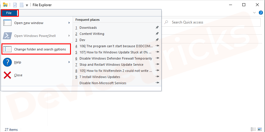 Change folder and search option