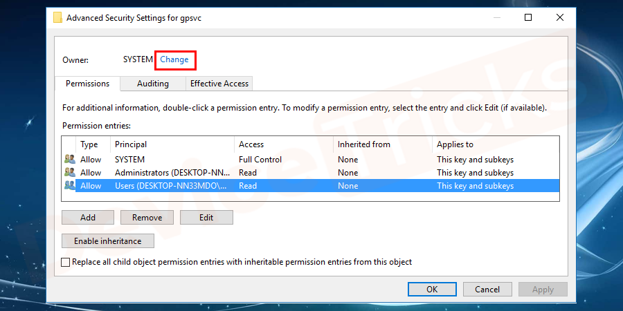 To change the owner from Trusted Installer to your choice, you need to click on the change that appears in the windows.