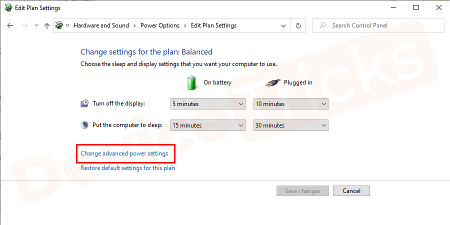 Now, select Change advanced power settings.