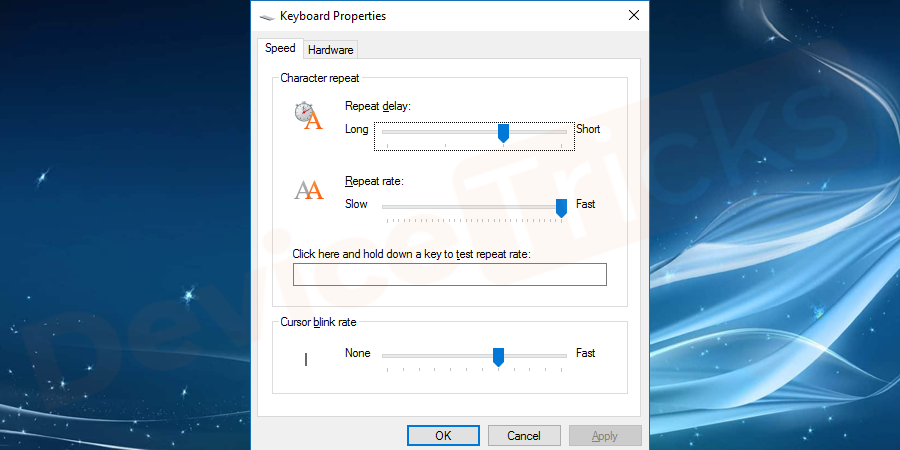 Change the key settings if you notice any delay between pressing a key and appearance of it on the screen.