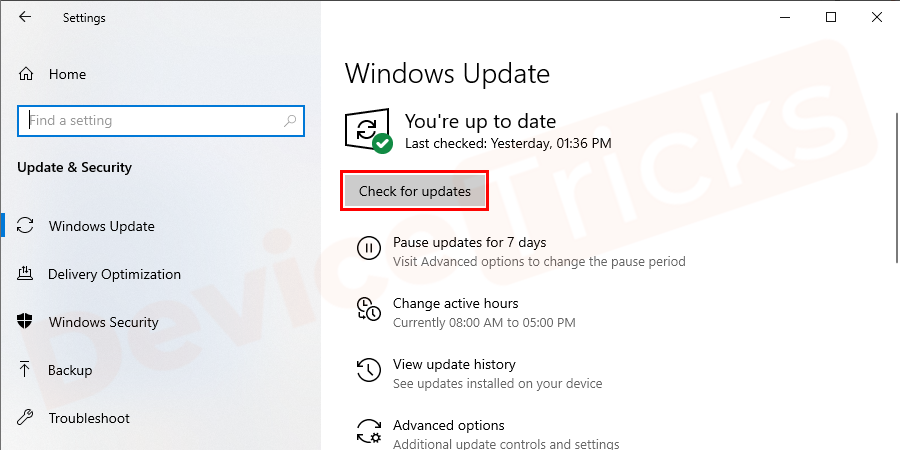 Now, click on 'Check for updates' featured beneath the 'Window Update' section.