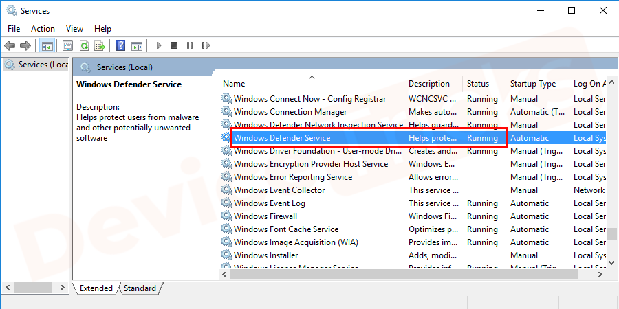 In services window check that if the Windows Defender Firewall and Windows Defender Antivirus Service are running or not. Double click on the service to check.