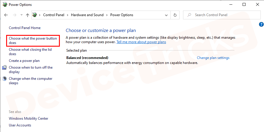From the left window pane, select 'Choose what the power buttons does'.