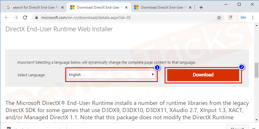 After the browser loads up the page entirely, choose your preferred language from the available list. Finally, click on the download button to get the file.