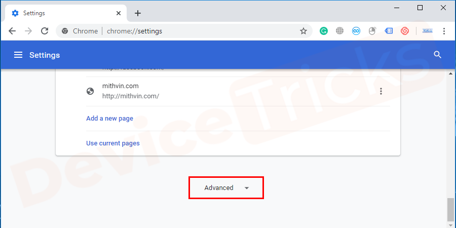 Scroll down the 'Settings' page and click on the 'Advanced' section to expand the features.