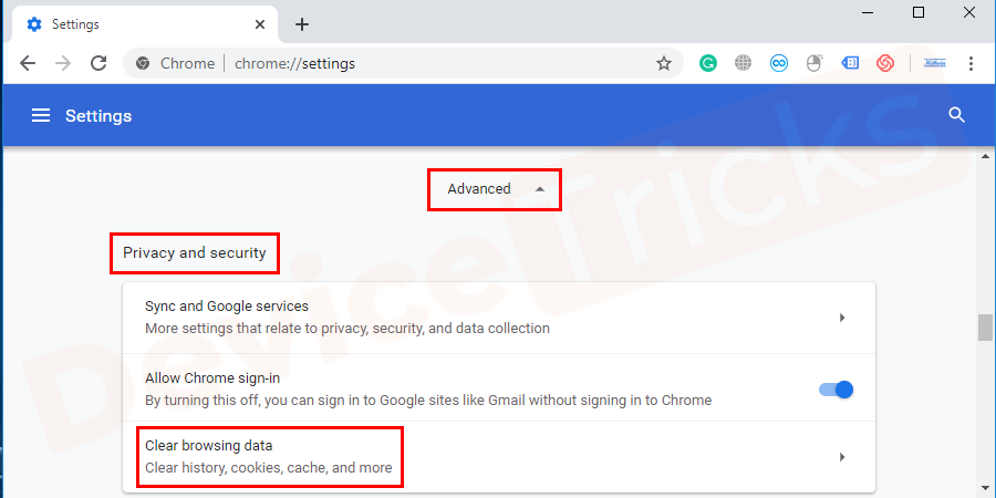 When advanced settings option is clicked then you will get a list where you can find clear browsing data, Click on it.