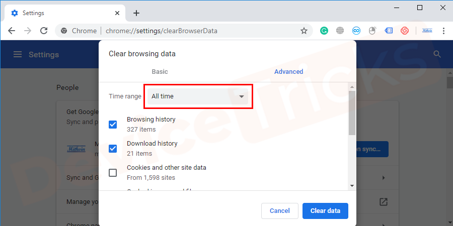 You will have a pop - up window from the time range all time click on the arrow mark.You will get a list of options for clearing browsing history. Select all the time.