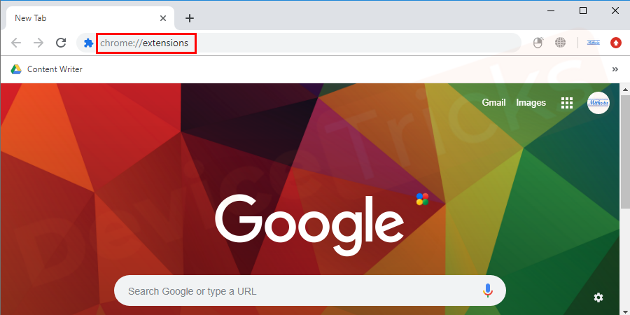 Open Google Chrome browser, type URL chrome://extensions in the address bar and hit enter.