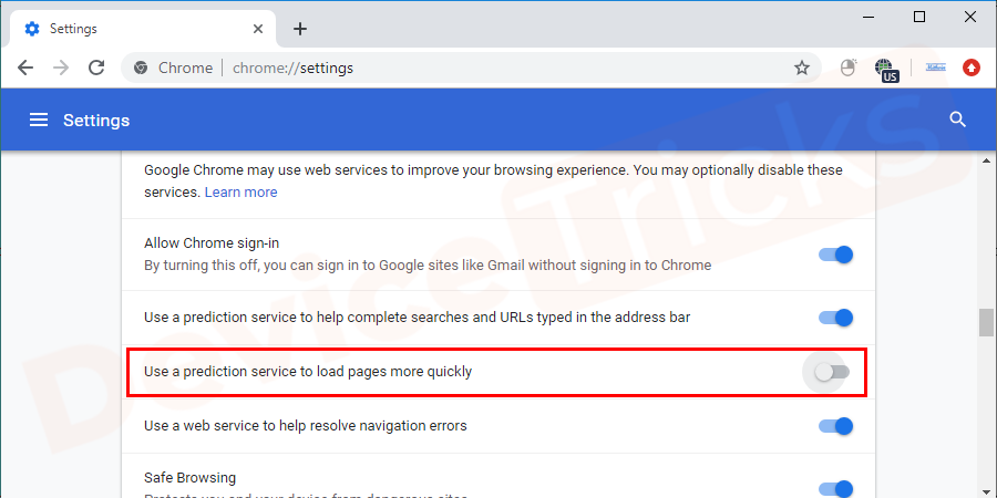 Now, head to the 'Privacy and Security' section and click on the checkbox 'Use a prediction service to load pages more quickly' and click the button to disable it.