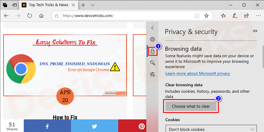 Now click on Clear browsing data > Then Choose what to clear.