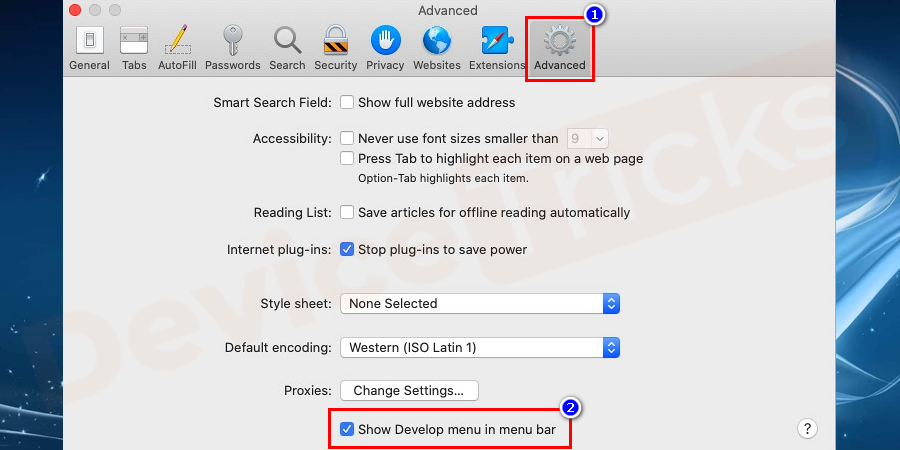 Now click on the Advanced tab. Choose the Show Develop option in menu bar checkbox and close the Preferences window.