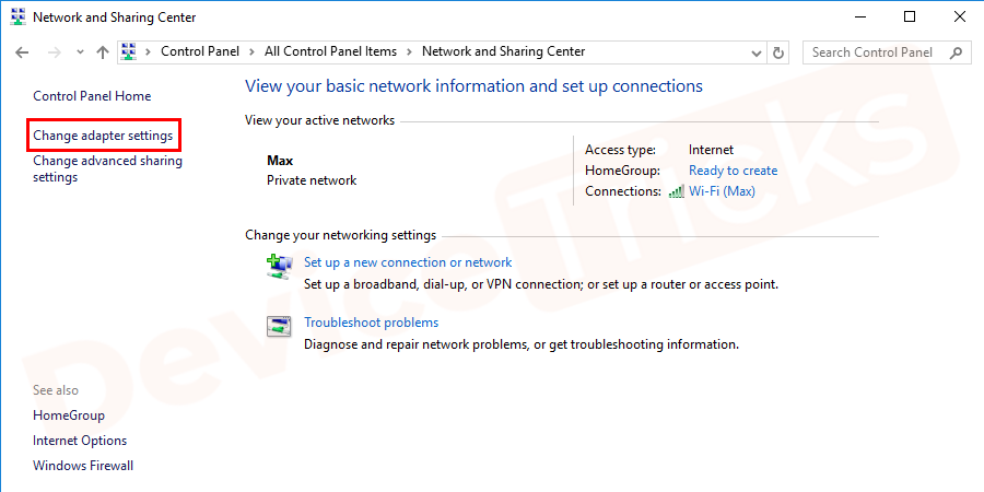 Thereafter, the Network and Sharing Center page will appear with few features. At the top-left corner, you will find 'Change Adapter Settings', click on it.