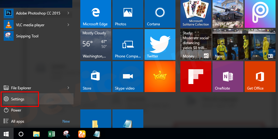 Click the gear-shaped settings icon on the lower left part of the start menu. The settings window is opened.