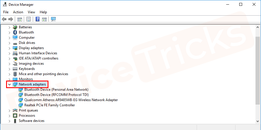In the device manager, the list of different devices will open, select Network Adapters in it.