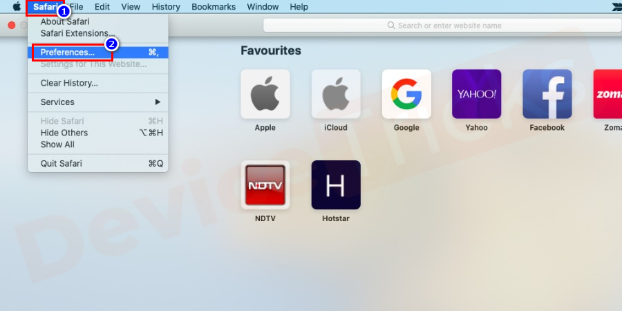 Click on the Safari drop-down and choose Preferences.