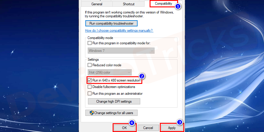 Go to the compatibility tab, under settings, 640x480 resolution screen and you need to up-tick checkbox option. Then save the options and close all the windows.