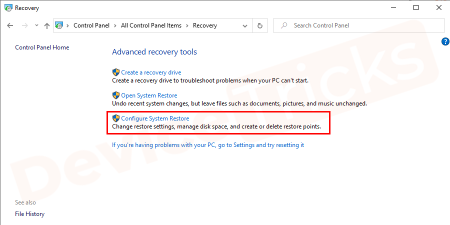 Select recovery > configure restore > configure