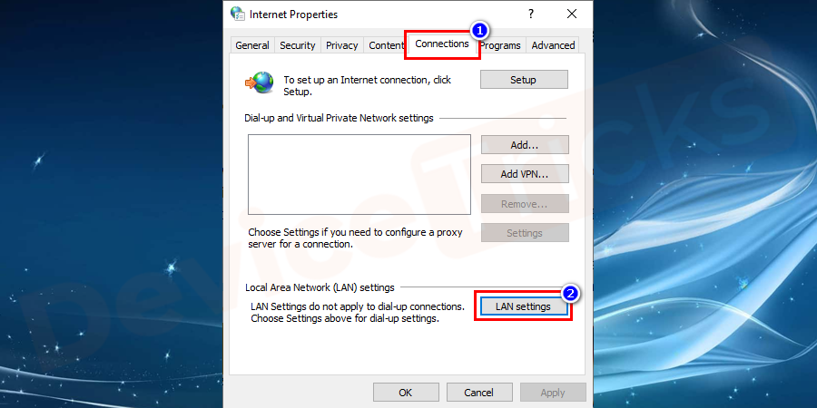 Now a pop-up window would show up on the screen. Now you need to click on the 'Connection' option and choose 'LAN settings'.