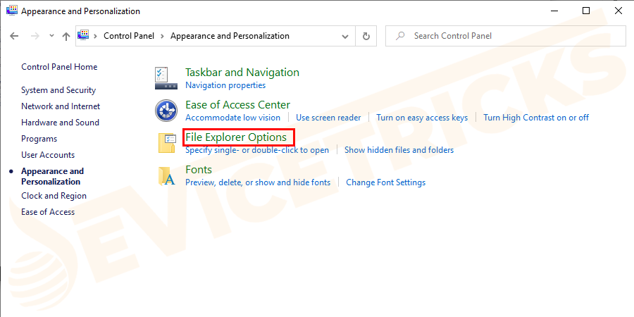 "Now the ""Appearance and Personalization"" section will open. In that section, click on ""Folder or File Explorer Options""."