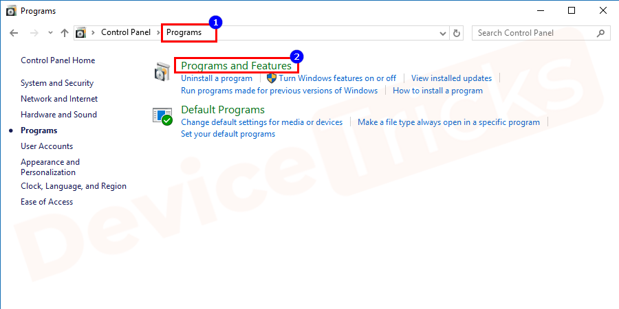 A new window opens, click on the Programs and then go to programs & features option.