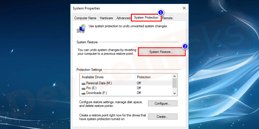 Now go inside the System Protection tab and click on System Restore.