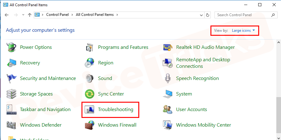 Search for troubleshooting in the search box and select it to open it.