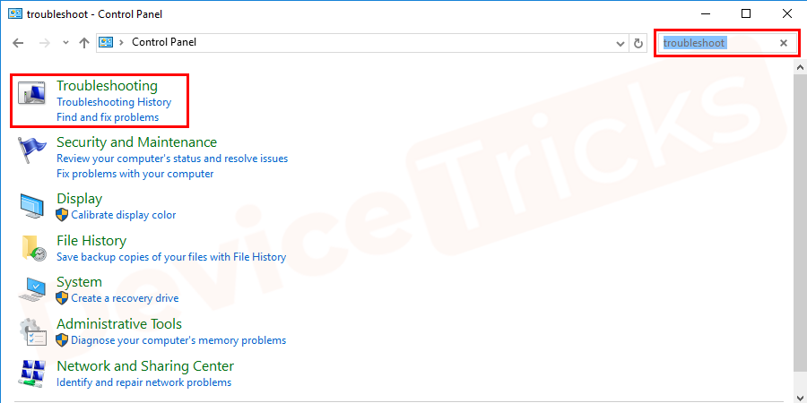 """In the search box, enter """"troubleshoot."""" Then, select """"Troubleshooting"""" option"""