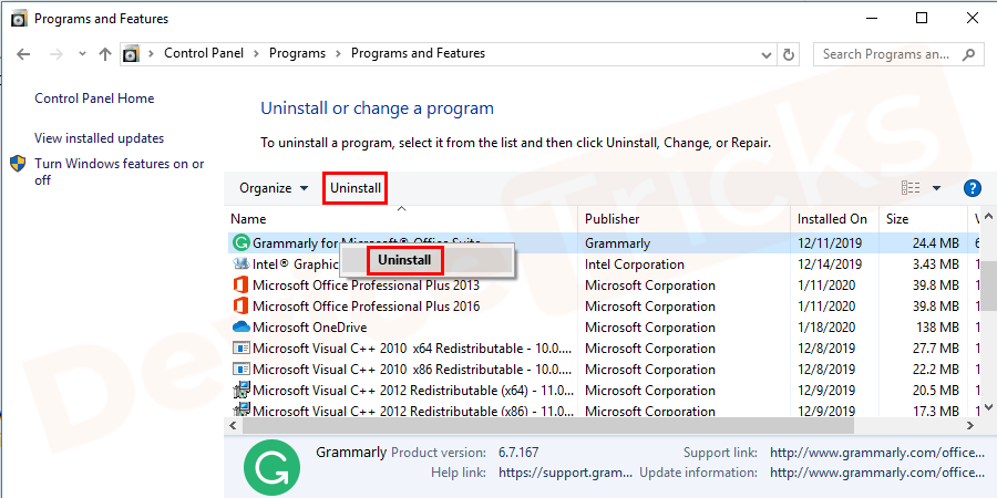 In the opened window locate the program you want to uninstall and right-click on it to uninstall the program.