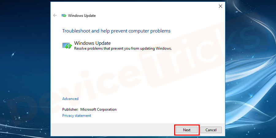 A new pop-up window opens, click on the Next button as shown in the figure.