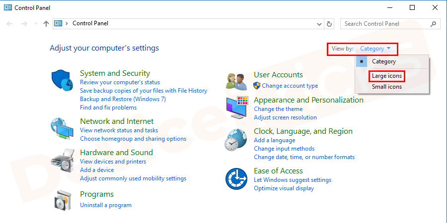 Navigate to view by and change to large icons as shown in the figure.