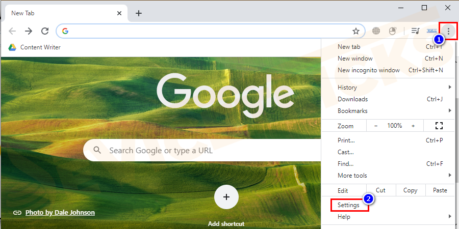 Go to the menu in the Google Chrome browser and click on settings from the list.