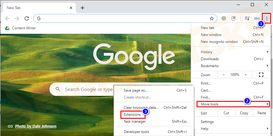 Google Chrome browser window navigates to the extensions in Chrome.